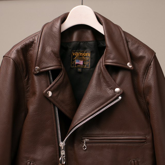 Vanson Special Custom Doulbe Riders Jacket Type 1 「グレインレザー」チョコレートブラウン