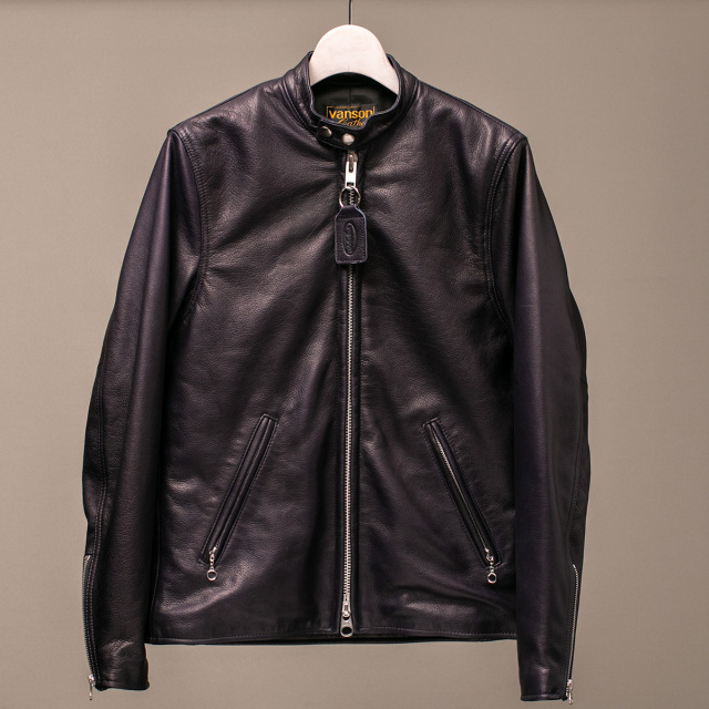 Vanson Special Custom Single Riders Jacket Type-2 「グレインレザー」ネイビー