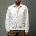 STEVENSON OVERALL CO. Saddle Horn Type II - 102 FRONT PLEATED WORK JACKET 9.12oz Raw Ivory Denim