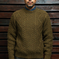STEVENSON OVERALL CO.  Cable Aran Sweater - CA Olive