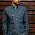 STEVENSON OVERALL CO. Cody - CD2 WESTERN SHIRT Faded Indigo