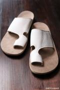 "The Sandalman Toe Loop Slide ""Slip Resisting Vibram"" White Bullhide/Sand Beige Suede"