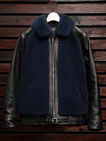 EMPTY GARAGE別注 FindersKeepers FK-GRIZZLY JACKET BLACK HORSEHIDE x NAVY SHEEPSKIN