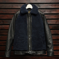 EMPTY GARAGE 別注 FindersKeepers FK-GRIZZLY JACKET BLACK HORSEHIDE x NAVY SHEEPSKIN
