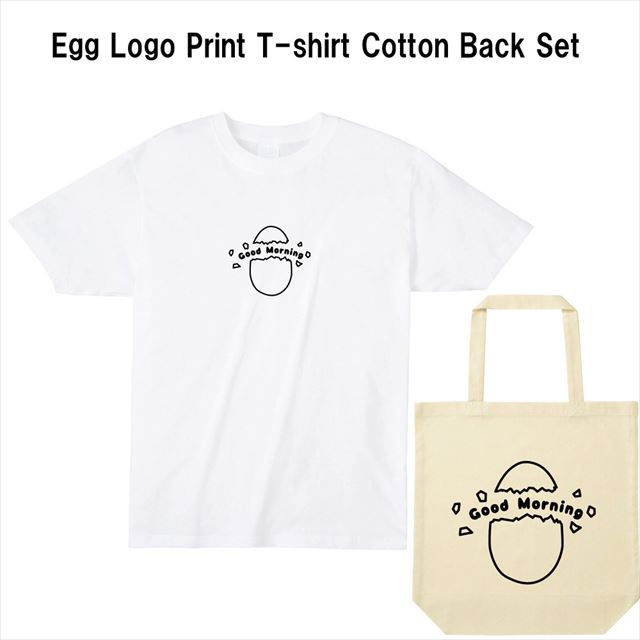 タマゴロゴプリントTシャツ コットントートバック おもしろ レディース メンズ キャラクター