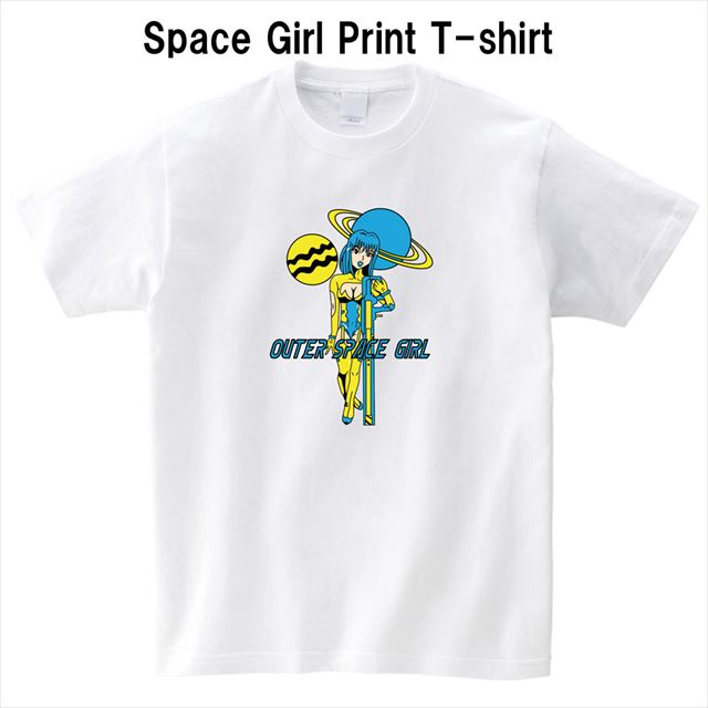スペースガールプリントTシャツ おもしろ キャラクター 白 半袖 大きいサイズ SF