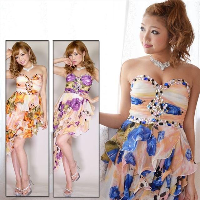 斜め裾4段フリル花柄シフォンロングドレス