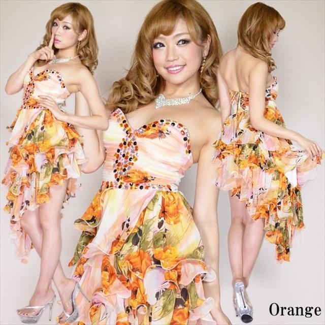 斜め裾4段フリル花柄シフォンロングドレス オレンジ