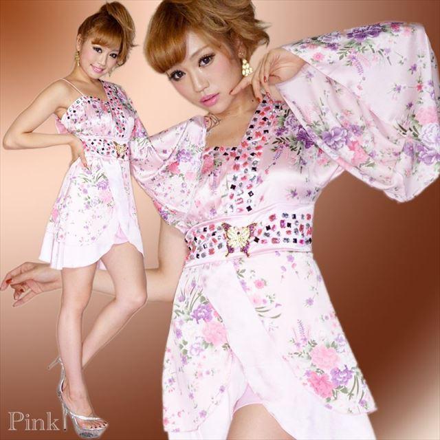 花魁ワンショルダーミニ着物ドレス ピンク 和柄 ビジュー
