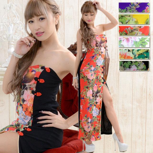 花柄ロングチャイナドレス