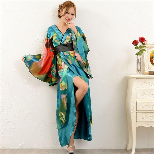 グラデーション ロング着物ドレス キャバドレス パーティー 舞台 衣装 花魁 通販 ener