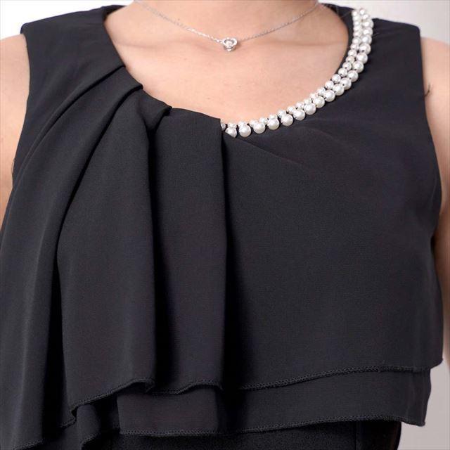 パール装飾胸元ティアードフリルミニワンピース お呼ばれ ドレスミニ丈 タイト デートワンピース