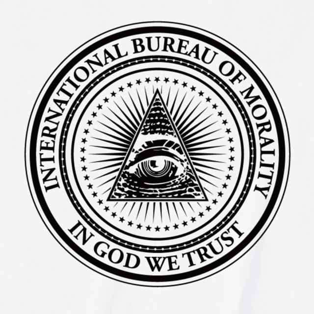INTERNATIONAL BUREAU OF MORALITY 都市伝説 IN GOD WE TRUST フリーメイソン Tシャツ