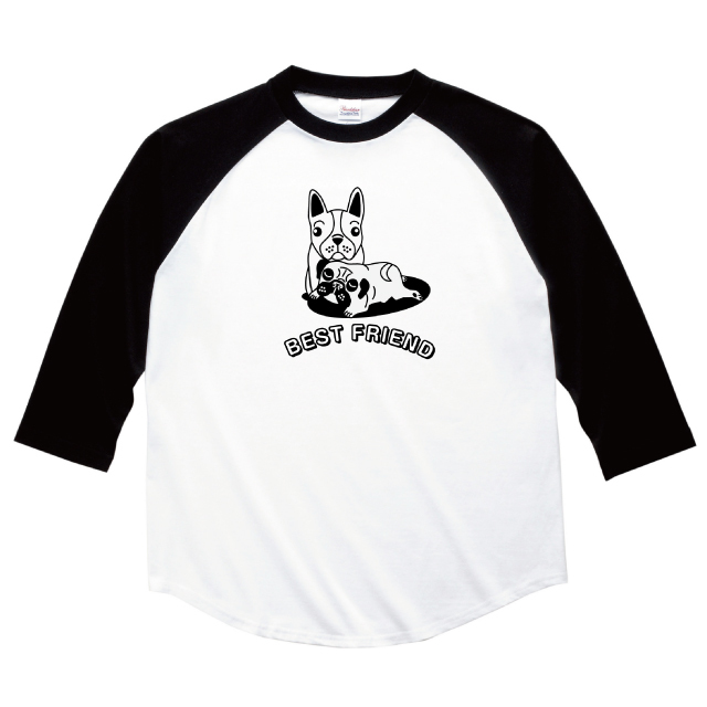 フレンチブルドックとパグの七分袖ラグランTシャツ レディースファッション 通販 エナー ener