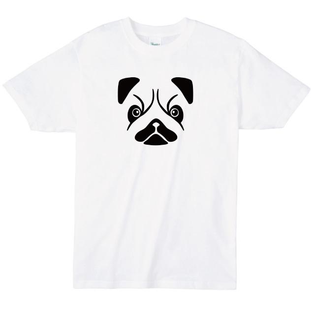 パグの顔プリントTシャツ オリジナル 受注生産 レディースファッション 通販