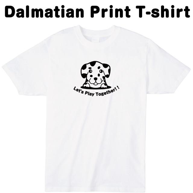 ダルメシアンロゴプリントTシャツ 犬 動物 オリジナル