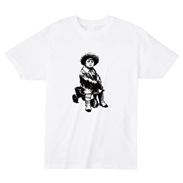 少年と三輪車Tシャツ おもしろ ロゴ