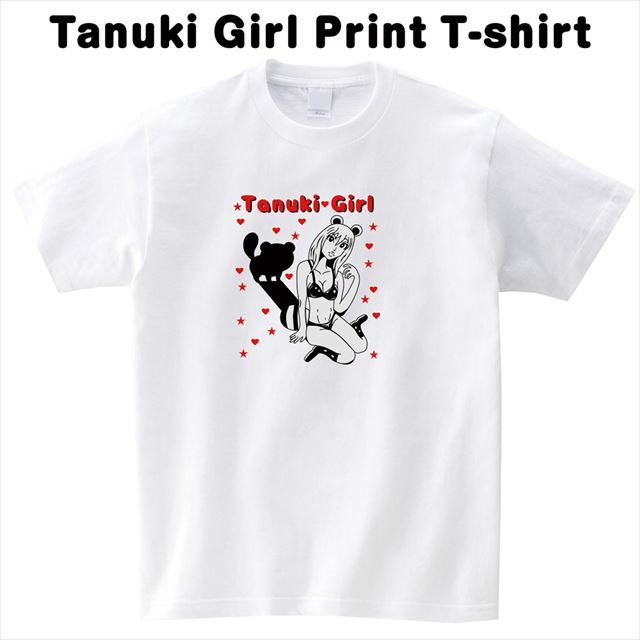 タヌキガールプリントTシャツ 大きいサイズ おもしろ キャラクター オリジナル 可愛い 白 半袖