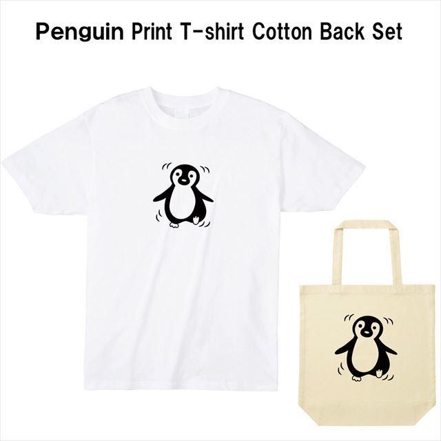 ペンギンプリントTシャツ コットントートバック おもしろ レディース メンズ キャラクター 動物 アニマル