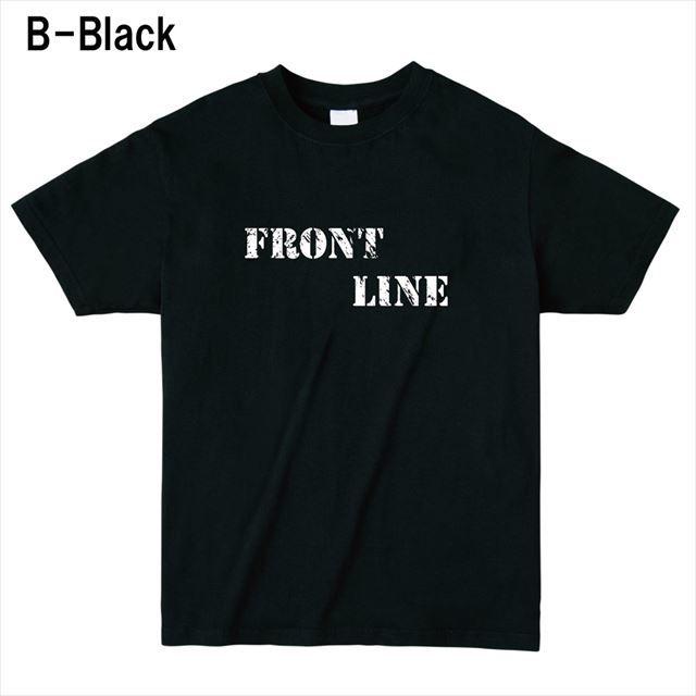 FrontLineロゴTシャツ トップス 半袖 英字 アメカジ オリジナル メンズ レディース 黒