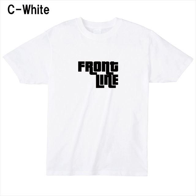 FrontLineロゴTシャツ トップス 半袖 英字 アメカジ オリジナル メンズ レディース 白