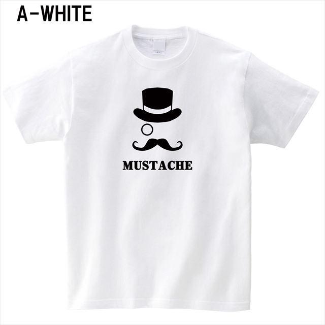 マスタッシュプリントTシャツ ロゴ アメカジ おもしろ キャラクター 半袖 トップス メンズ レディース 白