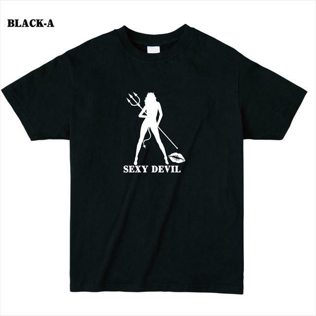 セクシーデビルシルエットプリントTシャツ トップス レディース メンズ ロゴ 大きいサイズ 黒
