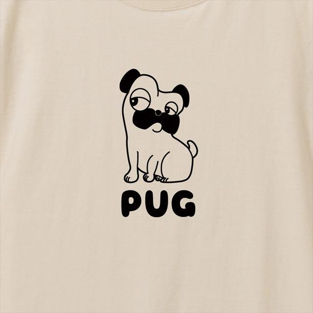 パグプリントリブなし長袖Tシャツ おもしろTシャツ 動物 アニマル 犬