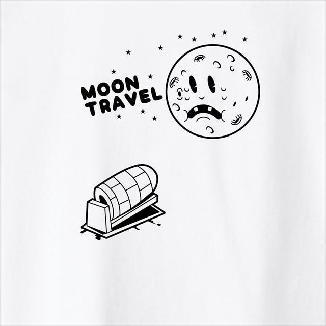 月旅行プリントTシャツ おもしろ キャラクター オリジナル