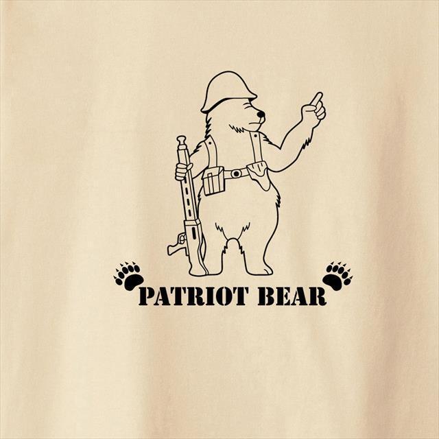 パトリオットベアプリントTシャツE おもしろ 動物 アニマル ミリタリー キャラクター