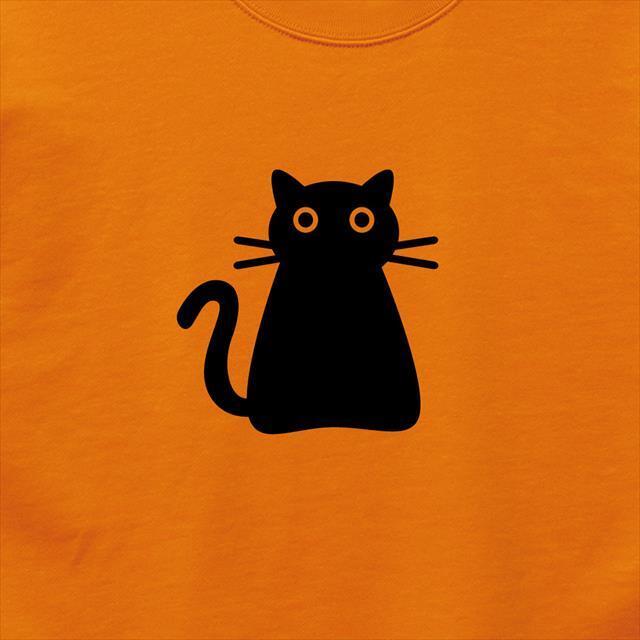 黒猫 プリントスウェット 動物 可愛い メンズ レディース