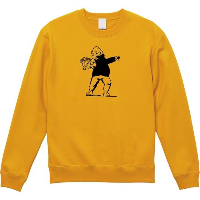 プリントトレーナー 花束を投げる ゴリラ おもしろTシャツ 秋冬 バンクシー