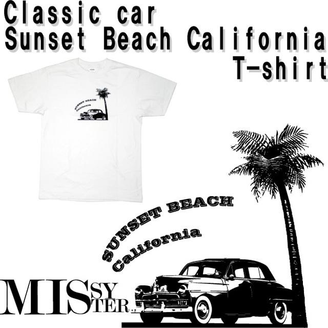 クラシックカープリント(サンセットビーチカリフォルニア)Tシャツ