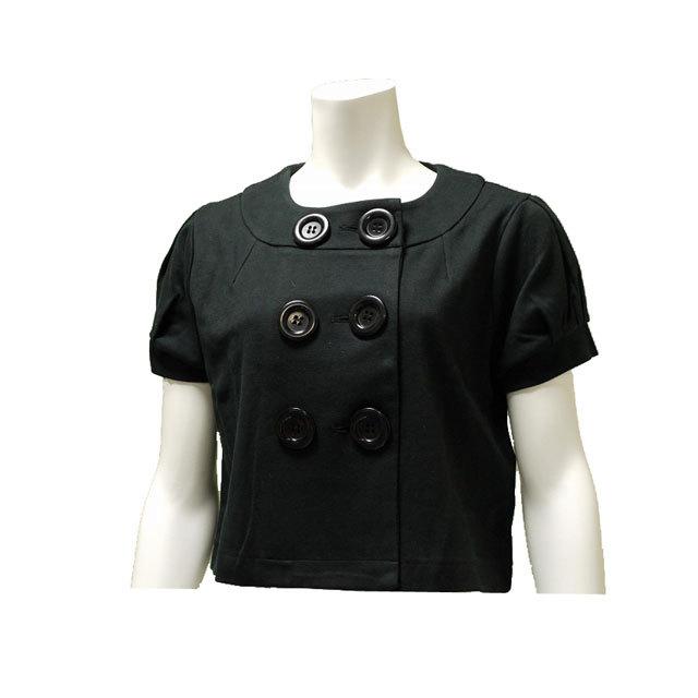 ダブルボタンショートジャケット 無地 半袖 フェミニン カジュアル