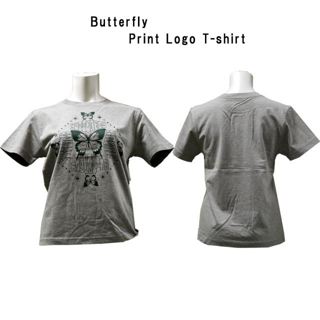 バタフライプリントTシャツ レディース