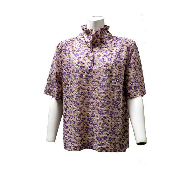 小花柄半袖ブラウス  大きいサイズ シャツ クラシカル