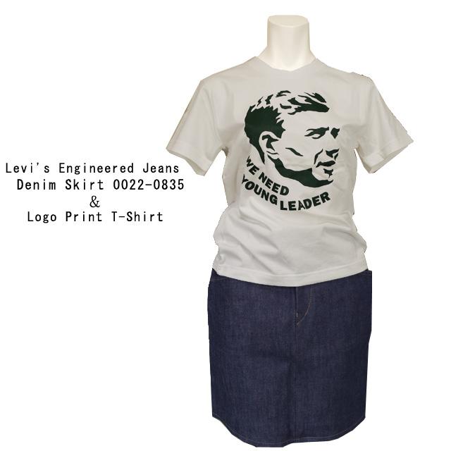 Levi'sデニムスカートとプリントTシャツ 上下セット
