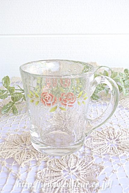 《限定》マニー ステンシルローズ ガラス マグカップ