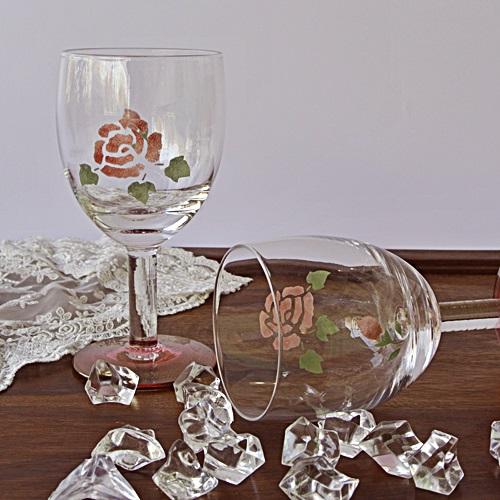 マニー ローズガラス ワイングラス