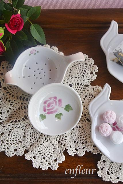 マニー ローズ陶器 ティーストレーナー