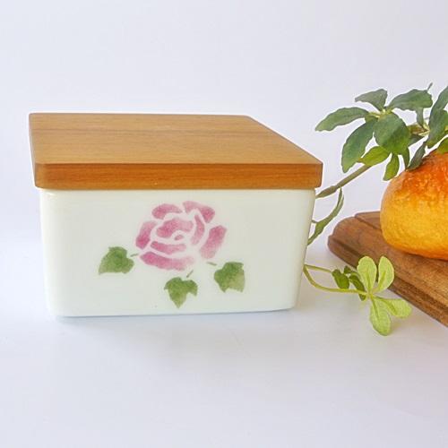 マニー ローズ陶器 バターケース・ハーフ