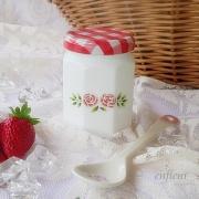 マニー ステンシルローズ ガラス  ミルクジャム瓶