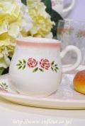 マニー ステンシルローズ 陶器 マグカップ