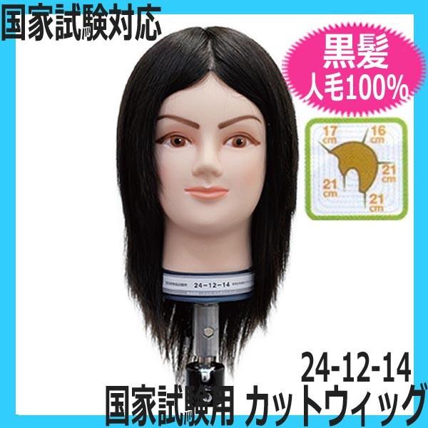 美容師国家試験対応カットウィッグ 人毛100% 黒髪 24-12-14 レイヤースタイル カットマネキン