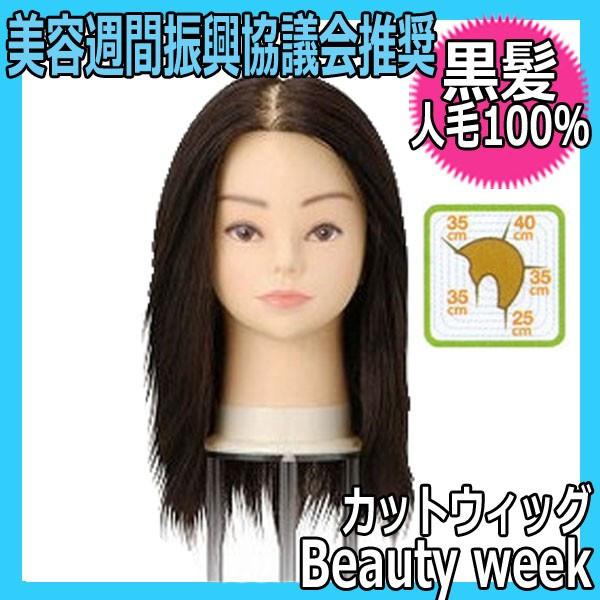 【送料無料】 人毛100% 黒髪カットウィッグ ビューティーウィーク セミナー指定ウィッグ 美容週間振興協議会推奨品