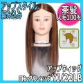 【送料無料】 セットアップウィッグ・人毛100%・茶髪 YJ/22LB ロングウィッグ 編み込み、アップスタイル、パーティーヘアーの練習に