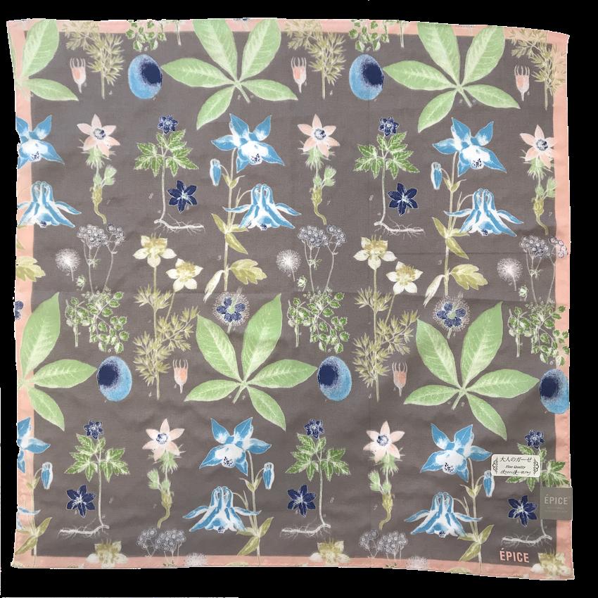 [ハンカチ] 北欧の野草や花の図鑑柄 370-1008