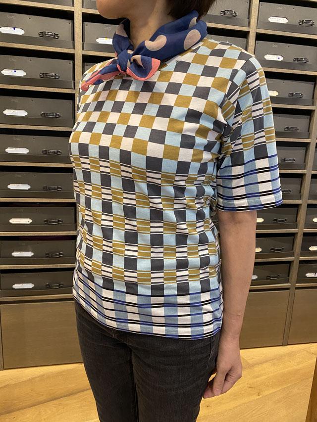 レディス T-Shirt [GRAPHIC ART] ギリシャのモザイクチェック TS2054A-02