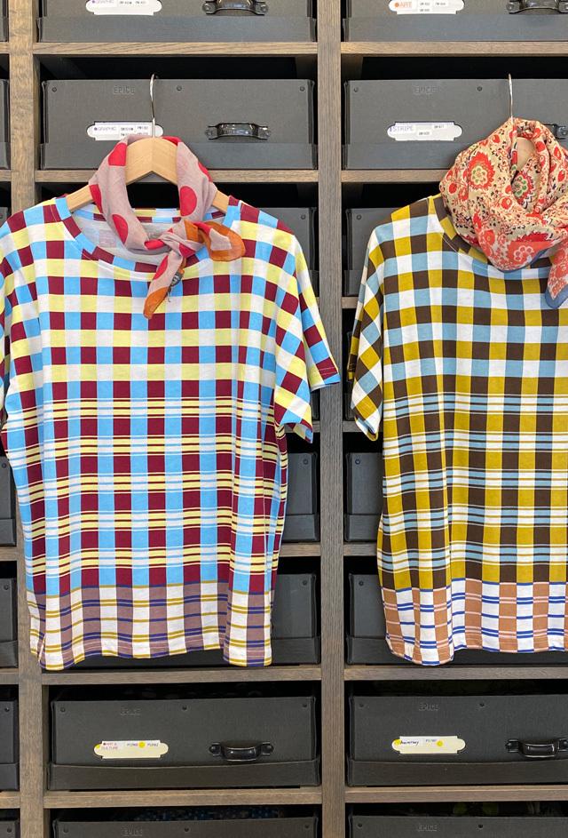 レディス T-Shirt [GRAPHIC ART] ギリシャのモザイクチェック TS2054A-03 (ボートネック)