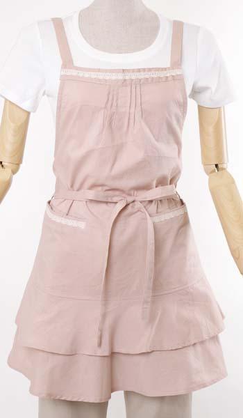 裾フリルショートエプロン(綿ワッシャー)NAP3683ピンク